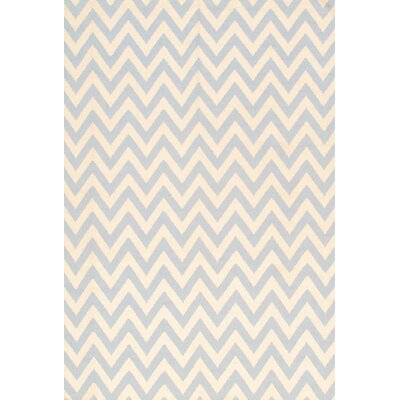 Kilim Hand-Knotted Ivory/Light Blue Area Rug