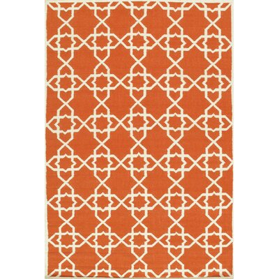 Kilim Hand-Woven Coral/Ivory Area Rug