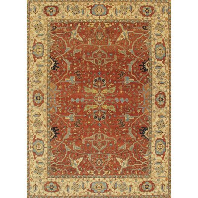 Ferehan Hand-Knotted Rust/Ivory Area Rug