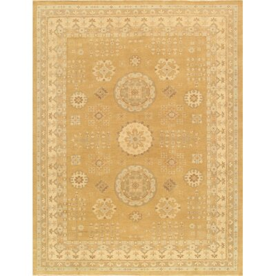 Khotan Hand-Knotted Light Gold/Beige Area Rug