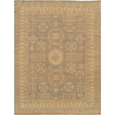 Khotan Hand-Knotted Light Gray/Beige Area Rug Rug Size: 9 x 12