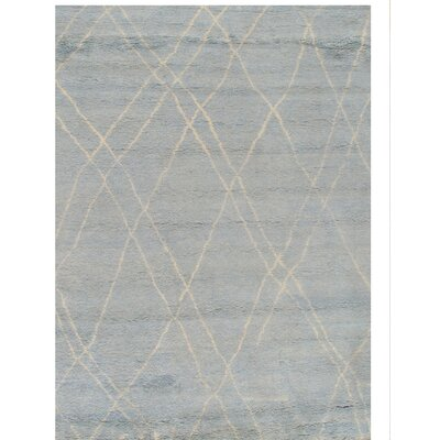 Moroccan Hand-Knotted Light Blue/Ivory Area Rug