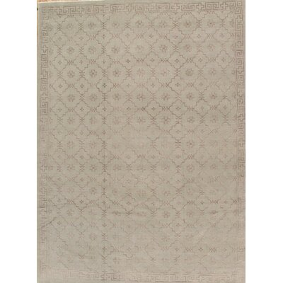 Khotan Hand-Knotted Gray/Green Area Rug Rug Size: Rectangle 9 x 12