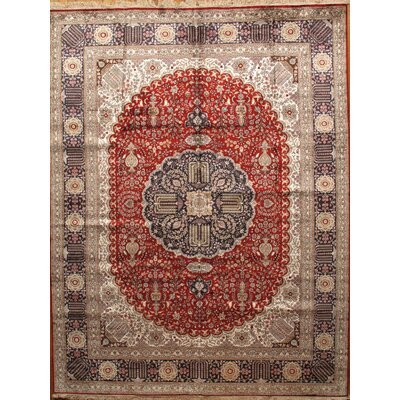 Joshegan Hand-Knotted Red/Navy Area Rug