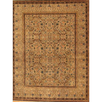Kermanshah Hand-Knotted Beige Area Rug