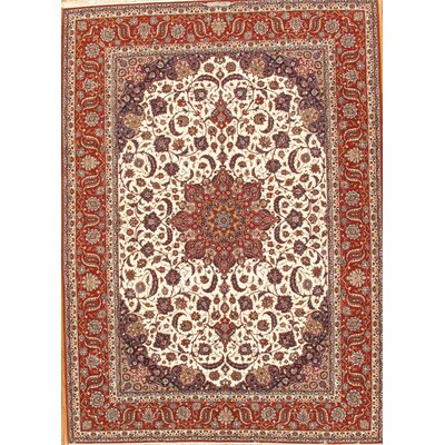 Isfahan Hand-Knotted Ivory/Red Area Rug