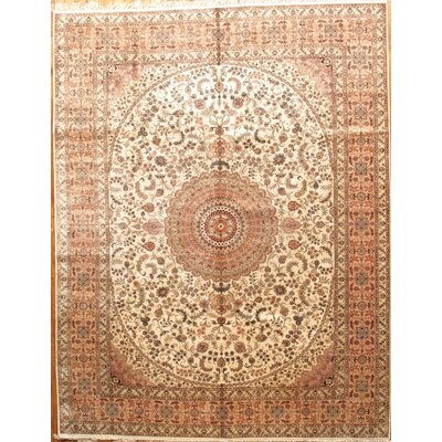 Tabriz Hand-Knotted Ivory/Salmon Area Rug