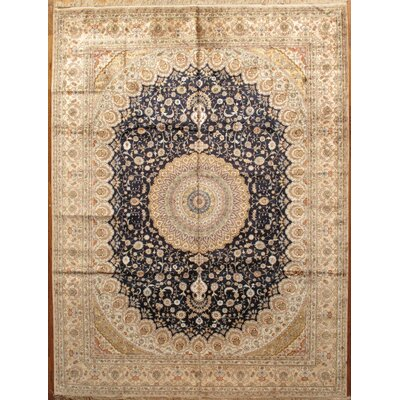 Tabriz Hand-Knotted Navy/Light Gold Area Rug