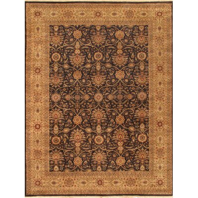 Tabriz Hand-Knotted Black/Gold Area Rug