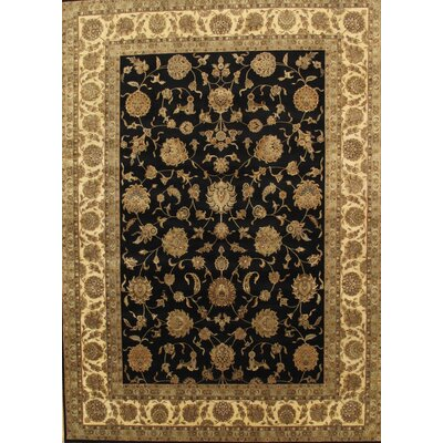 Tabriz Hand-Knotted Black/Ivory Area Rug