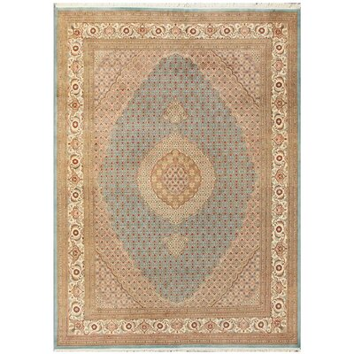 Tabriz Hand-Knotted Light Blue/Ivory Area Rug