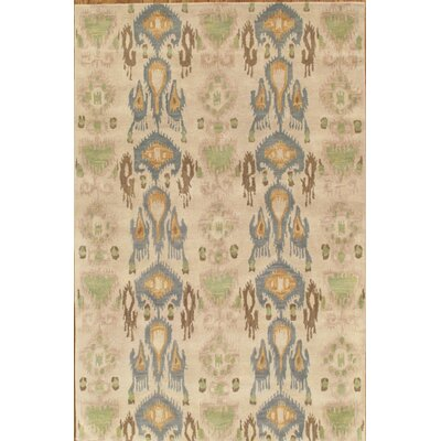 Ikat Hand-Tufted Taupe/Blue Area Rug Rug Size: Rectangle 6 x 9