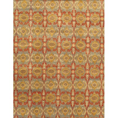Ikat Hand-Knotted Light Blue/Gold Area Rug Rug Size: 9 x 12