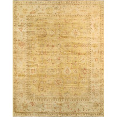 Oushak Hand-Knotted Gold/Ivory Area Rug