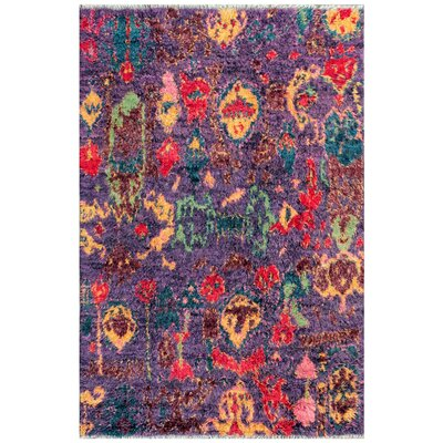 Moroccan Hand-Knotted Purple Area Rug