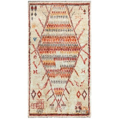 Moroccan Hand-Knotted Ivory/Rust Area Rug