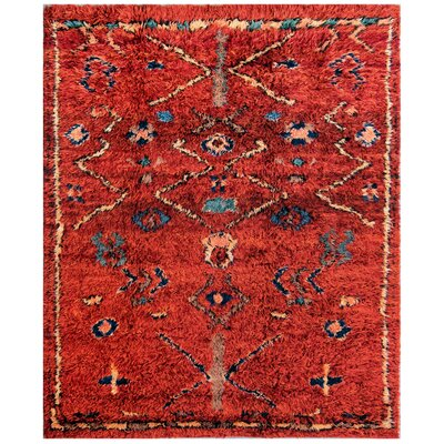 Moroccan Hand-Knotted Rust Area Rug