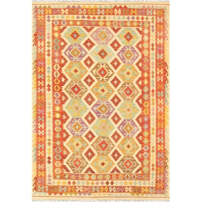 Hand-Woven Orange/Beige Area Rug