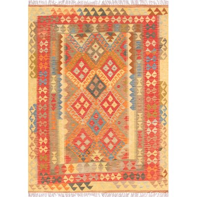 Hand-Woven Orange/Tan Area Rug