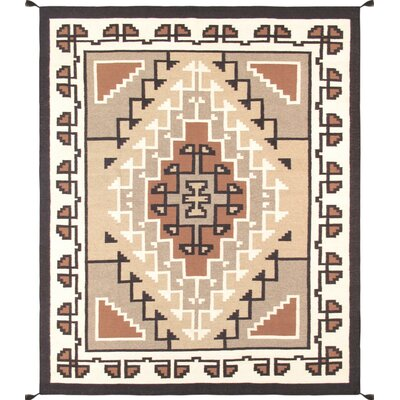 Kilim Hand-Woven Wool Brown/Beige Area Rug
