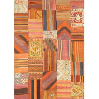 Patchwork Hand-Knotted Orange Area Rug