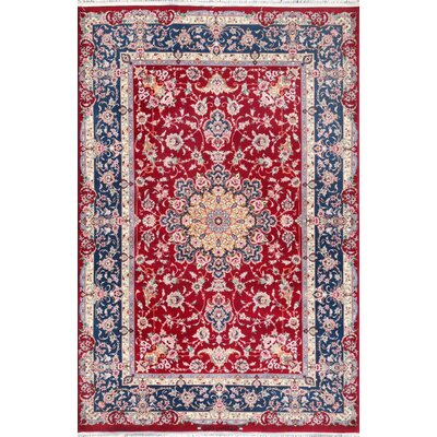 Isfahan Hand-Knotted Red / Navy Area Rug