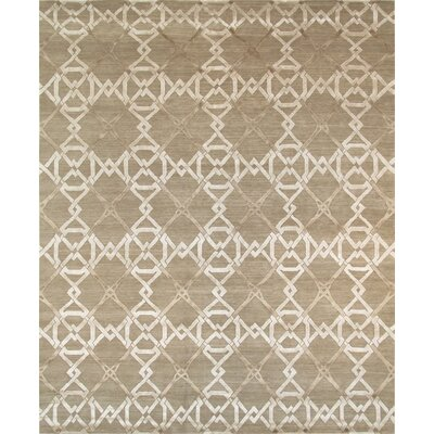Modern Hand-Knotted Mocha Area Rug