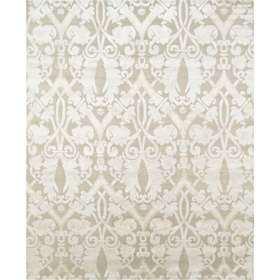 Modern Hand-Knotted Beige Area Rug