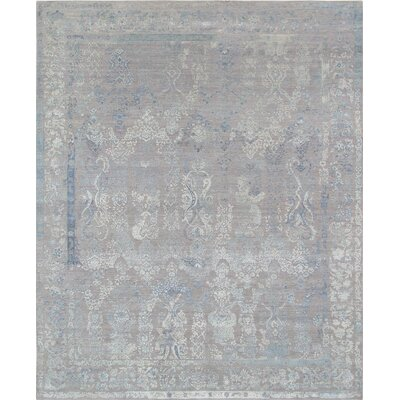 Hand-Knotted Gray Area Rug Rug Size: 9 x 12