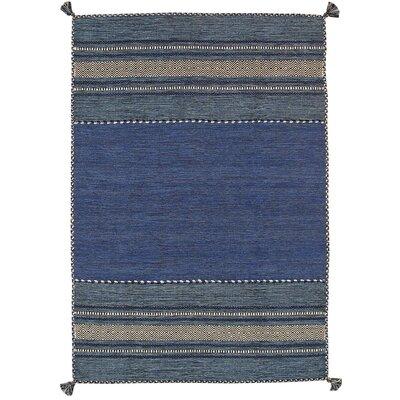 Kilim Hand-Woven Blue Area Rug Rug Size: 5 x 8