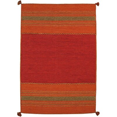 Kilim Hand-Woven Red Area Rug Rug Size: 5 x 8