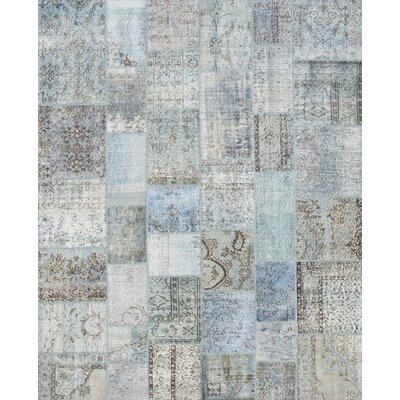 Patchwork Hand-Knotted Blue Area Rug
