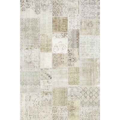 Patchwork Hand-Knotted Beige Area Rug