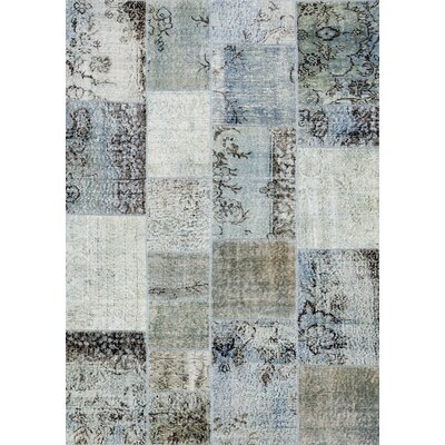 Patchwork Hand-Knotted Gray Area Rug