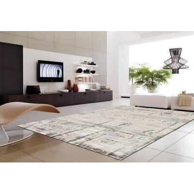 Modern Hand-Knotted Ivory Area Rug Rug Size: Rectangle 12 x 15
