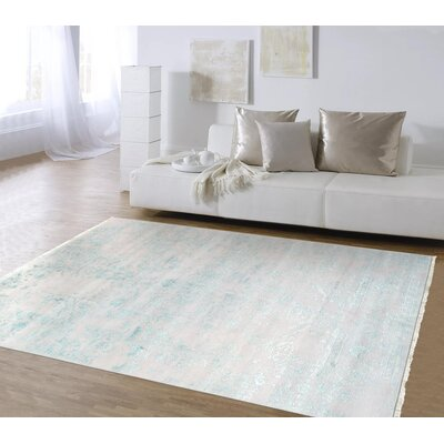Transitional Hand-Knotted Silver/Blue Area Rug