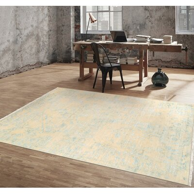Transitional Wool Hand-Knotted Ivory/Aqua Area Rug