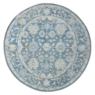 Oushak Bamboo Silk/Wool Hand-Knotted Blue Area Rug Rug Size: Round 8