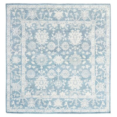 Oushak Rayon from Bamboo Silk/Wool Hand-Knotted Blue Area Rug Rug Size: Square 10