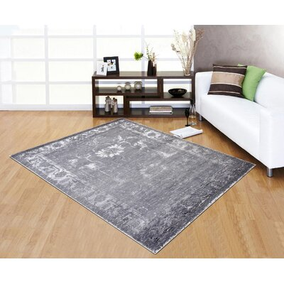 Hand-Knotted Gray Area Rug Rug Size: 8' x 10'