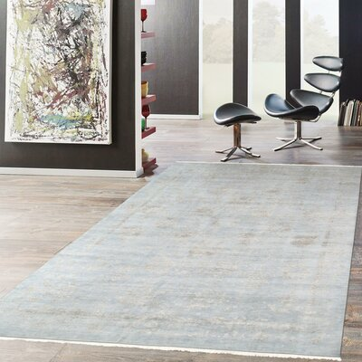 Transitional Hand-Knotted Wool Area Rug Rug Size: 10 x 14