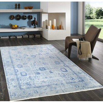 Transitional Hand-Knotted Gray/Blue Area Rug Rug Size: 9 x 12