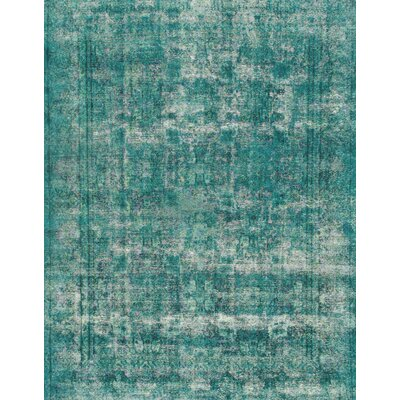 Hand-Knotted Green Area Rug