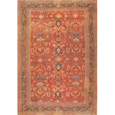 Sultanabad Hand-Knotted Orange Area Rug