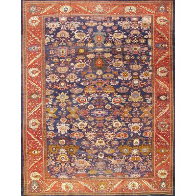 Sultanabad Hand-Knotted Orange/Navy Area Rug