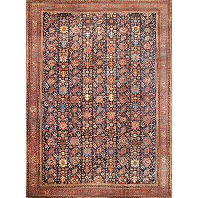 Bidjar Hand-Knotted Orange/Navy Area Rug