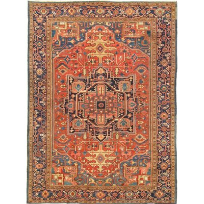 Heriz Hand-Knotted Orange Area Rug
