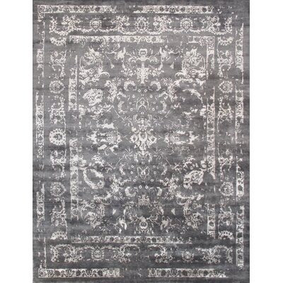 Transitional Rayon from Bamboo Silk Hand-Knotted Gray Area Rug Rug Size: 910 x 1310