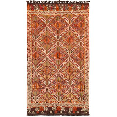 Kilim Lambs Wool Hand-Woven Beige/Red Area Rug