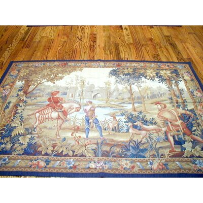 Tapestry Hand-Knotted Blue/Beige Area Rug